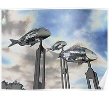 Swinging Fish, Parramatta River, NSW, Australia 2012 Poster