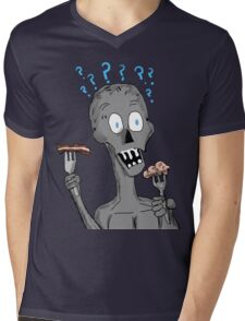 Bacon or Brains Zombie Mens V-Neck T-Shirt