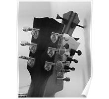 Guitar Heads Black & White Poster