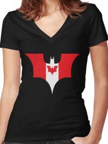 Canada Bat Shirt Women's Fitted V-Neck T-Shirt