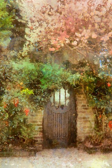 Garden Gate Under Cherry Tree - Charleston SC by JHRphotoART
