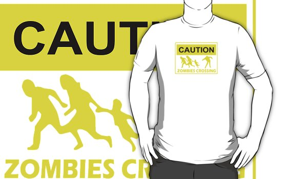 CAUTION ZOMBIES CROSSING funny walking brains awesome dead by porsandi