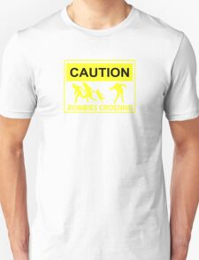 CAUTION ZOMBIES CROSSING funny walking brains awesome dead T-Shirt