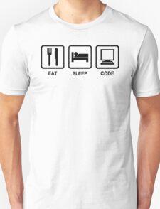 EAT SLEEP CODE funny programer developer html nerd geek Unisex T-Shirt