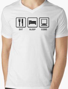 EAT SLEEP CODE funny programer developer html nerd geek Mens V-Neck T-Shirt