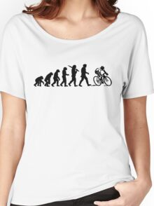 Evolution of a Cyclist Mens Black or Blue Cycling Bike Women's Relaxed Fit T-Shirt