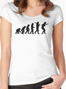 Evolution of Table Tennis or Ping Pong Mens  Women's Fitted Scoop T-Shirt