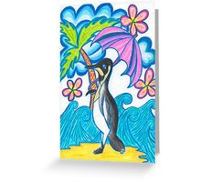Penguin On Summer Holiday Greeting Card