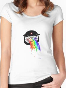 Penguin with shark mouth puking rainbows Women's Fitted Scoop T-Shirt