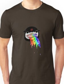 Penguin with shark mouth puking rainbows Unisex T-Shirt