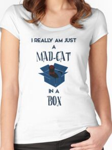 Just a mad cat in a box Women's Fitted Scoop T-Shirt