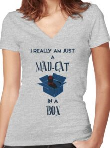 Just a mad cat in a box Women's Fitted V-Neck T-Shirt