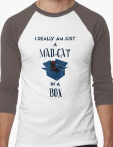 Just a mad cat in a box Men's Baseball ¾ T-Shirt