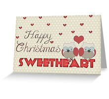 Retro Happy Christmas Sweetheart Owls and Hearts Greeting Card