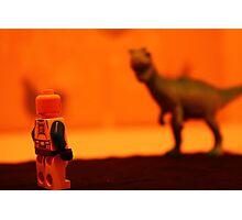 Stormtrooper VS. Dinosaur (Red) Photographic Print