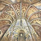 Charola. Convento de Cristo. Tomar. ink and watercolor by terezadelpilar~ art & architecture