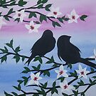 Watercolour acrylic birds with cherry blossom sakura 3 by cathyjacobs