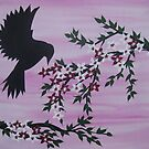 Watercolour acrylic birds with cherry blossom sakura 6 by cathyjacobs