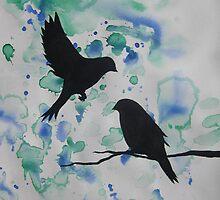 Watercolour acrylic green birds with cherry blossom sakura  by cathyjacobs
