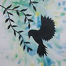 Watercolour acrylic green birds with cherry blossom sakura 3 by cathyjacobs