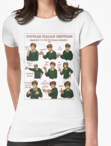 Popular Italian Gestures brought to you by Italia Romano Womens Fitted T-Shirt