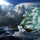 A Cloud of Sails on a Vintage Ship in Rough Seas by Dennis Melling