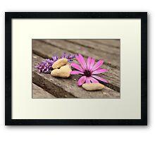 Flower and stones Framed Print