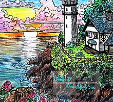 lighthouse and roses by LoreLeft27