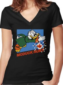 Scrooge McDuck Hunt Women's Fitted V-Neck T-Shirt