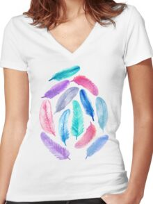 Falling Feathers Women's Fitted V-Neck T-Shirt