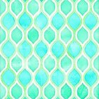 Watercolor pattern in Aqua, Lime & Mint on White by micklyn