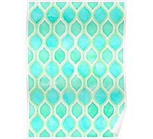 Watercolor pattern in Aqua, Lime & Mint on White Poster