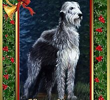 Irish Wolfhound Dog Christmas by Oldetimemercan