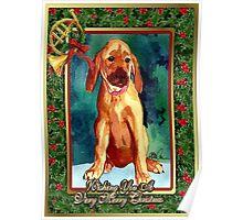 Rhodesian Ridgeback Dog Christmas Poster