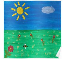 Painting for my daughter's room - Sun with flowers Poster