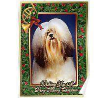 Lhasa Apso Dog Christmas Poster