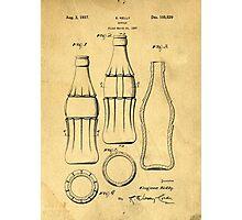 Coca Cola Bottle Patent Art 1937 Blueprint Drawing Photographic Print