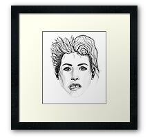 Girl Biting Her Lip Framed Print