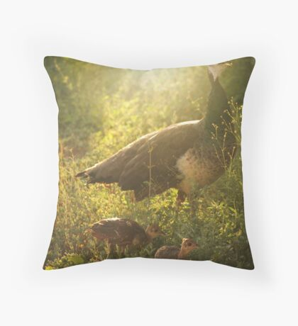 Mother and Baby Peafowl Throw Pillow