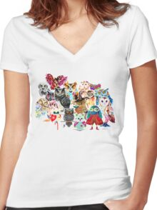 Owls collage Women's Fitted V-Neck T-Shirt