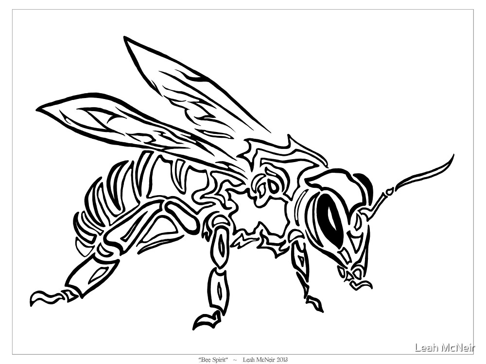 """""""Bee Spirit"""" - Surreal abstract tribal bee totem animal by Leah McNeir"""