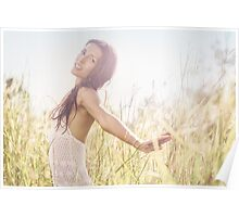 Pretty Young Woman in Grass Meadow Poster