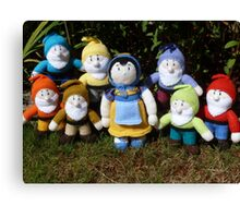 Hand Knitted Snow White and her seven dwarfs Canvas Print