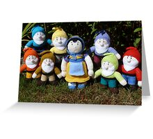 Hand Knitted Snow White and her seven dwarfs Greeting Card