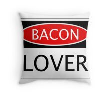 BACON LOVER, FUNNY DANGER STYLE FAKE SAFETY SIGN Throw Pillow