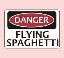DANGER FLYING SPAGHETTI, FUNNY FAKE SAFETY SIGN Kids Clothes