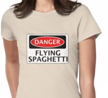 DANGER FLYING SPAGHETTI, FUNNY FAKE SAFETY SIGN Womens Fitted T-Shirt