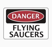 DANGER FLYING SAUCERS, FUNNY FAKE SAFETY SIGN Kids Clothes