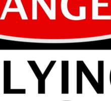 DANGER FLYING SAUCERS, FUNNY FAKE SAFETY SIGN Sticker