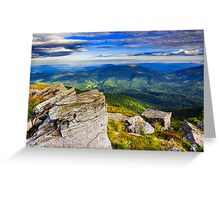 giant stones on the top of mountain meadowslandscape Greeting Card